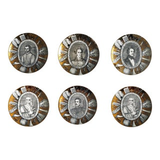 Vintage Piero Fornasetti Set of Six Plates, Grandi Maestri Series