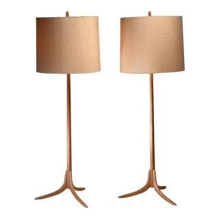 Pair of Swedish oak Floor Lamps, 1960s