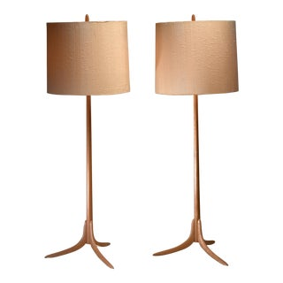 Pair of Swedish oak Floor Lamps, 1960s