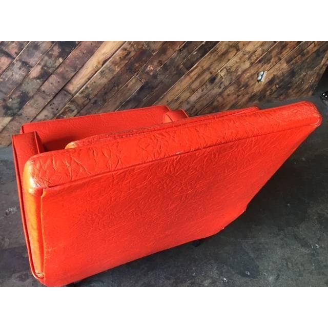 Vibrant Mid Century Orange Vinyl Lounge Chair - Image 7 of 7