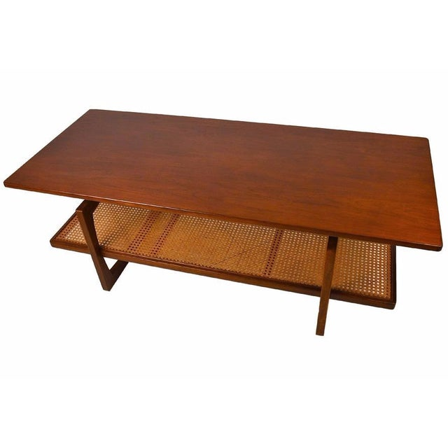 Mid Century Teak And Cane Coffee Table Chairish