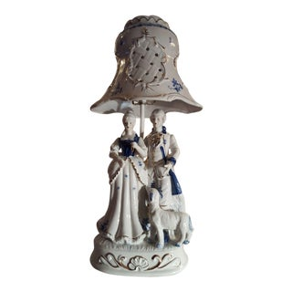 Victorian Blue & White Porcelain Lamp