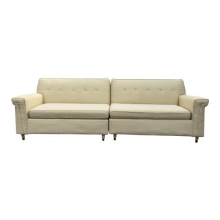 Mid-Century Cream Two Piece Sectional Sofa