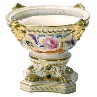 Antique Hand-Painted Floral and Gilt Urn