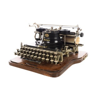Hammond Multiplex Antique Typewriter with Oak Case, 1900s