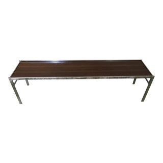 Chrome and Rosewood Narrow Coffee Table