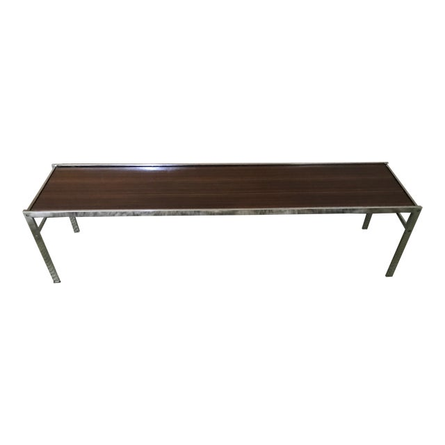 Chrome and rosewood narrow coffee table chairish for Narrow coffee table