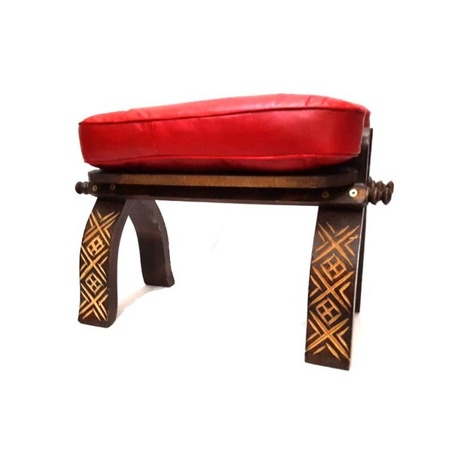 Red Moroccan Handmade Leather Bench Chairish