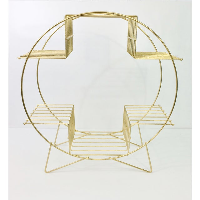 Image of Gold Circular Plant Stand with Hairpin Legs