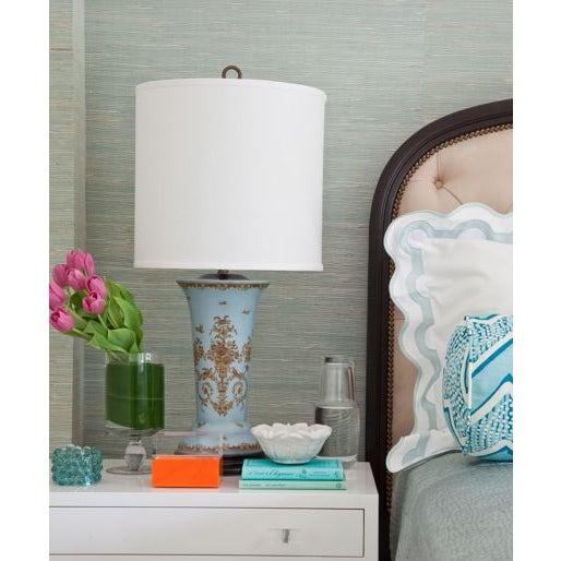 Light Blue Ceramic Lamps - A Pair - Image 6 of 7