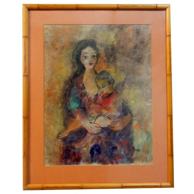 Mother with Child Painting with Bamboo Frame - Image 1 of 7