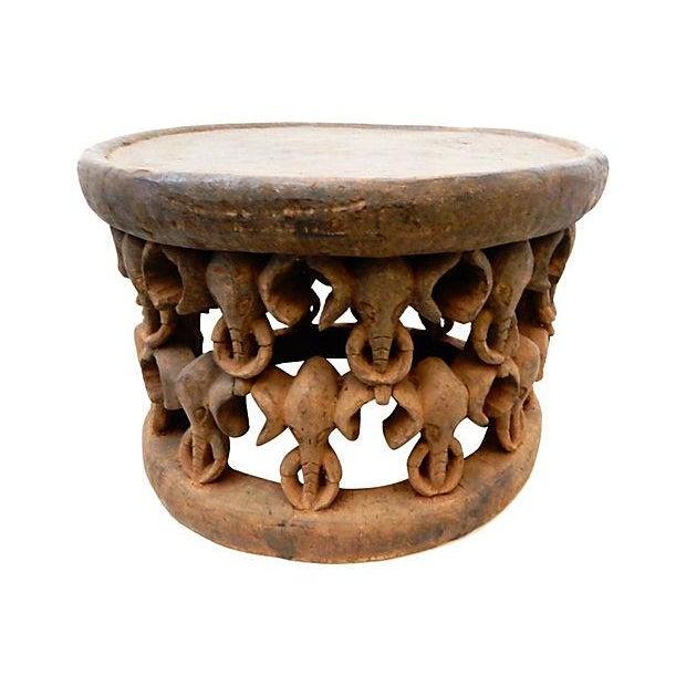 African Elephant Bamileke Table Stool - Image 3 of 7
