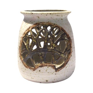 Vintage 1970s Pottery Reticulated Votive Holder