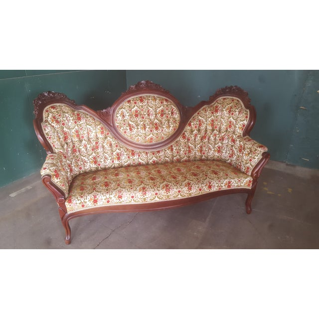 Antique Carved Wood Victorian Loveseat - Image 7 of 8