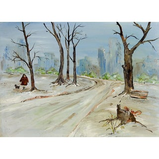Winter Dog Walking Modernist Cityscape Oil Painting