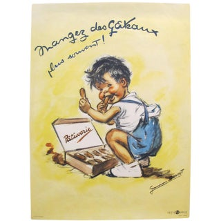 1950s Vintage French Pastry Poster by Germaine Bouret