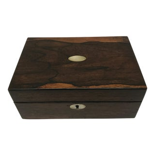 Antique English Rosewood Box with Mother of Pearl Inlays
