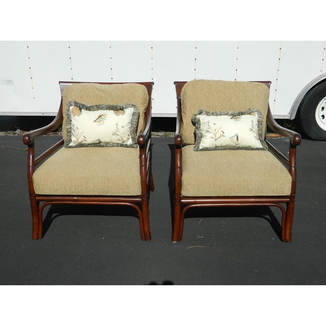 Image of Palecek Colonialwood Club Chairs - A Pair