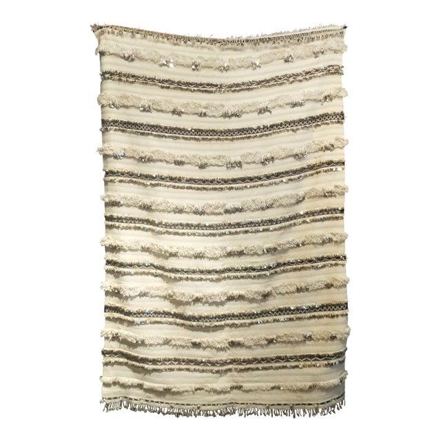 Moroccan Wedding Blanket Handira with Sequins - Image 1 of 6