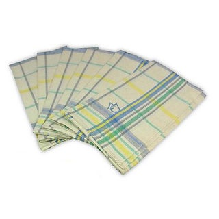 Blue Green Linen Monogrammed M/E Towels - Set of 6