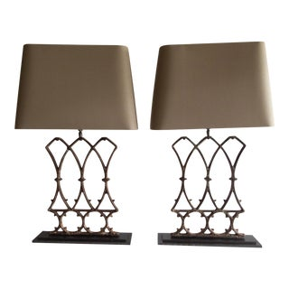 French Architectural Table Lamps (Pr.) 17 x 5 x 33 Antique Iron Architectural Fragments Excellent