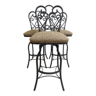 Designer Leopard Metal Swivel Bar Stools - Set of 3