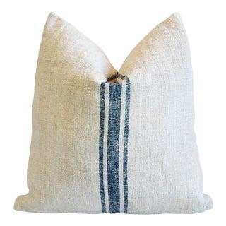 Custom Blue Stripe French Grain Sack Feather & Down Pillow