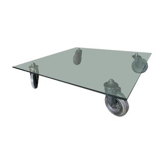 "Gae Aulenti ""Tavolo Con Ruote"" Coffee Table"