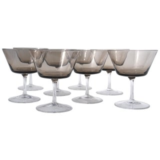 Smoke Brown Mid-Century Cocktail Glasses -Set of 8