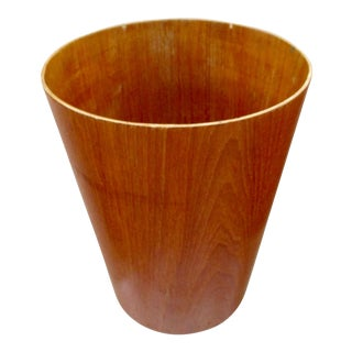 Danish Modern Teak Waste Basket Wastepaper Trash Waste Paper Basket