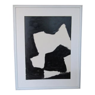 1950's Abstract Black & White Painting by William Holst