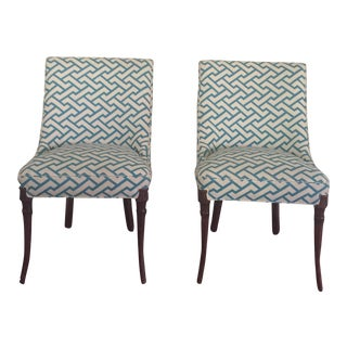 Quadrille Fabric Slipper Chairs - A Pair