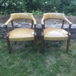 Image of Vintage Hickory Leather Library Chairs - A Pair