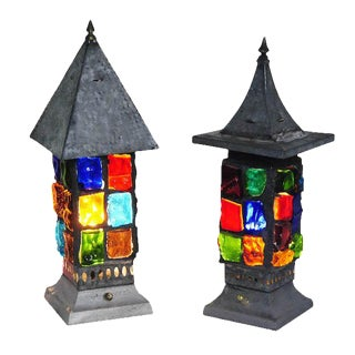 Multi Colored Glass Blocks Table Lamps - A Pair