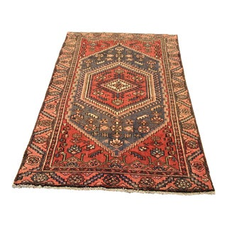 "Old Vintage Persian Hamadan Area Rug - 3'10"" x 6'6"""