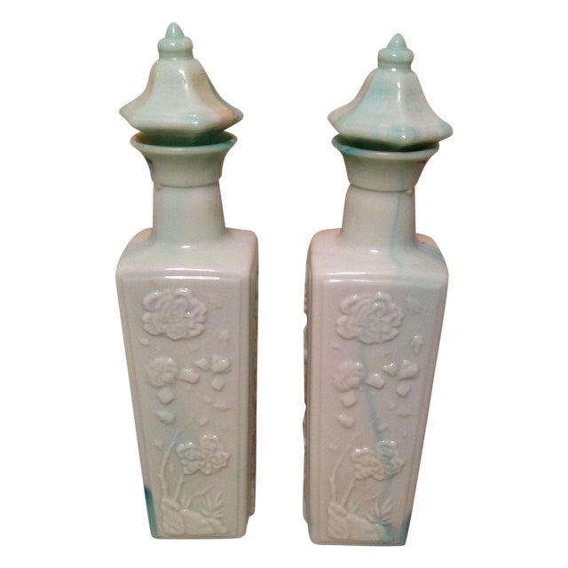 Colored Milk Glass Liquor Bottles - A Pair - Image 1 of 2