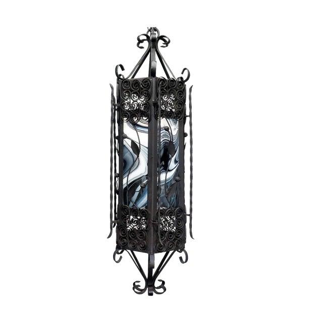Black & White Iron Pendant Chandelier - Image 1 of 7