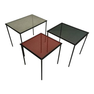 1950s Perforated Metal Mategot Style Dutch Nesting Tables by Floris Fiedeldij