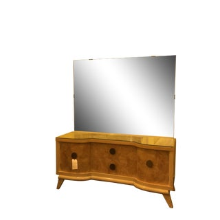 Mid-Century Blond Wood Vanity with Mirror