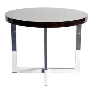 French Round Low Table with Metal Legs