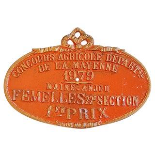 1979 De La Mayenne French Trophy Award Plaque