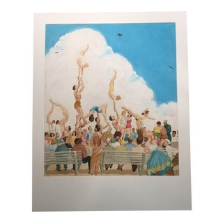 """Mid-Century Mary M. Kennedy """"Muscle Beach II"""" Painting"""