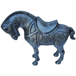 Asian Pewter Horse Statue