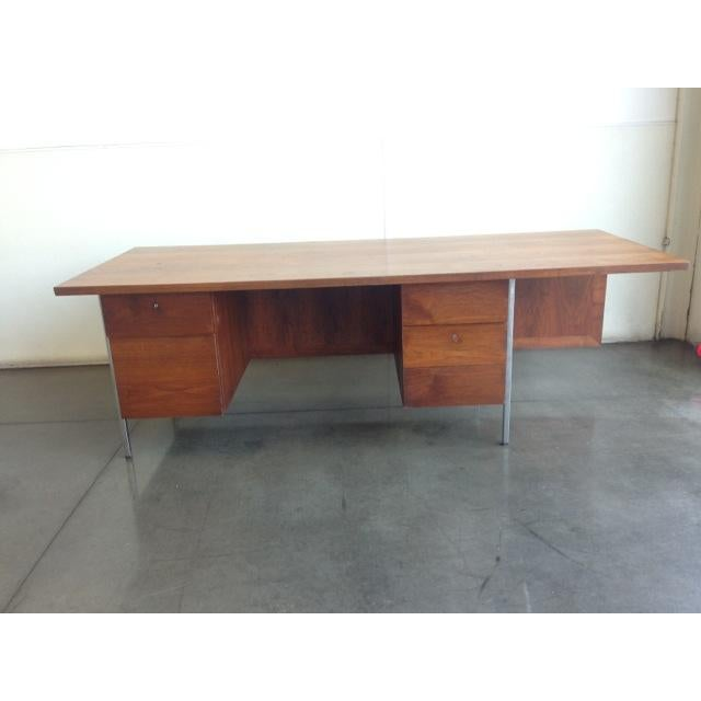 Mid-Century Executive Knoll Desk With Cane Detail - Image 3 of 7