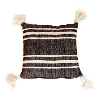 Mexican Wool Cream Pinstripes Throw Pillow