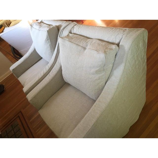 Designer Linen Slipcover Club Chairs - A Pair