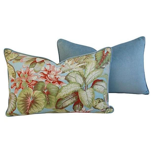 Lush Botanical Linen & Velvet Pillows - Pair - Image 5 of 7