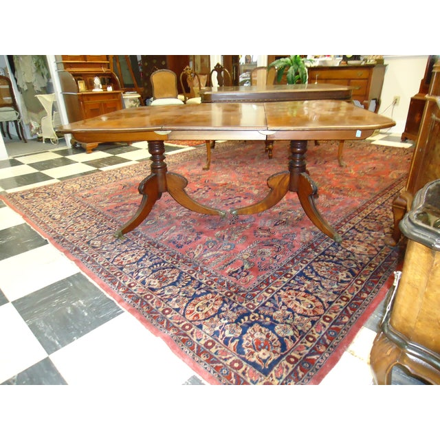 Vintage 1920s Walnut Double Pedestal Dining Table - Image 4 of 4