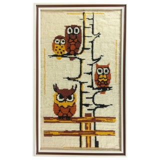 Vintage Owls in Tree Framed Needlepoint