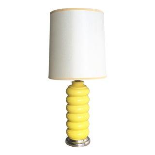 Mid-Century Pop Art Ceramic Lamp in Yellow